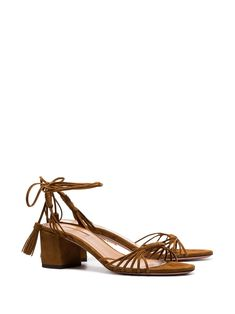 aa38507b28d Aquazzura brown Mescal 50 strappy suede sandals $627 - Buy SS19 Online -  Fast Global Delivery
