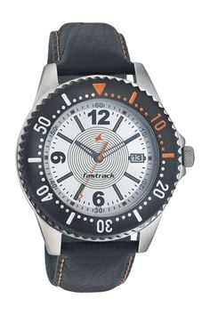 This chunky round watch has a silver dial with a cut date window at 3H. A black serrated bezel ring and thick padded black strap with contrast stiching completes the sporty look of this watch.. Sport from Fastrack http://www.fastrack.in/product/n3030sl01/?filter=yes=sport=2=995=3495=12