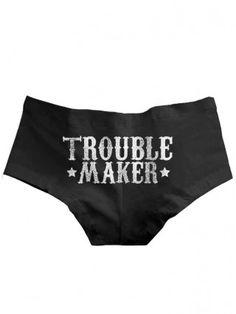 """Women's """"Trouble Maker"""" Boy Shorts by Badcock Jones (Black)"""