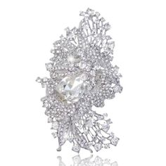EVER FAITH 4.5 Inch Bridal Silver-Tone Flower Bouquet Brooch Austrian Crystal Clear A08080-1 EVER FAITH http://www.amazon.com/dp/B00AFCN6MW/ref=cm_sw_r_pi_dp_Fqyxub19B6C59