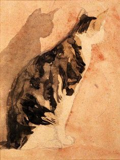 Seated Cat, by Gwen John, ca 1920's