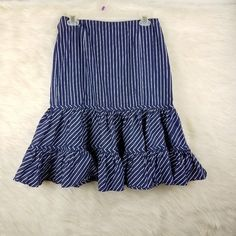 Lauren Ralph Lauren Skirts | Lauren Ralph Lauren Ruffle Career Skirt 8 Cotton | Poshmark Ralph Lauren Skirts, Blossoms, Career, Blue And White, Stripes, Cotton, Outfits, Things To Sell, Fashion