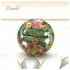 "New glittery Lampwork Focal Bead ""Flowerfield"" https://www.etsy.com/de/listing/262620861/lampwork-large-focal-bead-glittery"