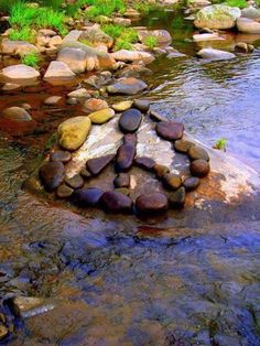 Peace sign made out of rocks
