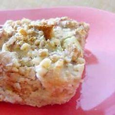 Broodpudding met rabarber en walnoot