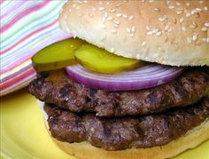 """""""Grilled"""" Venison Burgers (I used 1 egg instead of egg substitute, dijon mustard instead of dry mustard and I left out milk powder) Deer Burger Recipes, Deer Recipes, Wild Game Recipes, Fun Cooking, Cooking Recipes, Healthy Cooking, Healthy Meals, Healthy Recipes, Venison Burgers"""