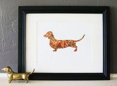 Japanese Chiyogami Paper Dachshund Dog by scratchandsniff on Etsy, $19.00