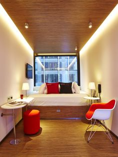 The Smallest Hotel Rooms in the World - citizenM - Multiple Locations : citizenM Hotels are all about affordable luxury and innovation. Their seven locations are spread between Amsterdam (city and airport), Glasgow, London, New York (pictured), Paris, and Rotterdam.
