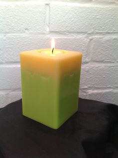 Square lemon and lime 'keep me' pillar candle with 2 scented soy tea lights  £7.50
