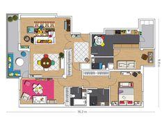 Un piso alegre y colorido