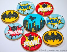 I hope you enjoy these amazing BATMAN PARTY ideas. Batman Cookies, Lego Cookies, Superhero Cookies, Superhero Cake, Cookies For Kids, Cute Cookies, Sugar Cookie Royal Icing, Sugar Cookies, Pastel Avengers