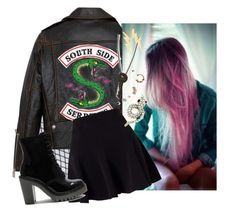 """""""{toni topaz}"""" by calliebethd ❤ liked on Polyvore featuring Free People, Miss Selfridge, Dr. Martens, The Giving Keys, Jennifer Fisher, toni, bikerbabe and riverdale"""