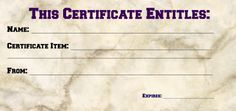 Fill In Certificate or Coupon  for a birthday present or anniversary or would be good for Father's Day #fathersday