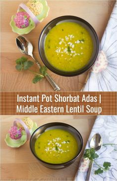 Shorbat Adas – A bright yellow colored Middle Eastern lentil soup prepared with red lentils with the flavors of cumin, garlic, and cilantro. This soup has different names such as adis soup, shorba, Arabic lentil soup, and shorbet adas.