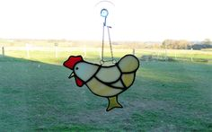 Chicken art, stained glass chicken, window Suncatcher, chicken lovers, sun catchers, glass birds, best selling items, decorative chickens by BelleVerreBon on Etsy