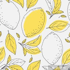 Outline seamless pattern with hand drawn lemon and leaves. Doodle fruit for package or kitchen design Vinyl Wall Mural - Graphic Resources Abstract Illustration, Fruit Illustration, Pattern Illustration, Fruit Doodle, Leaves Doodle, Lemon Drawing, Fruits Drawing, Wall Drawing, Fruit Pattern