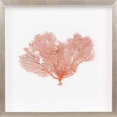 THE WELL APPOINTED HOUSE - Luxury Home Decor- Burnt Orange Sea Fan Wall Art with Silver Frame from www.wellappointedhouse.com #homedecor #decorate #wallart