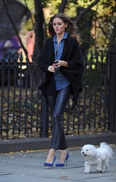 Olivia Palermo leather black blue pumps