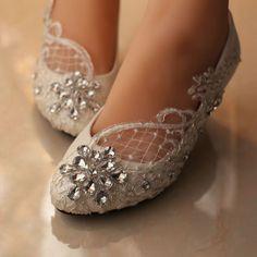 Lace bridal crystal wedding shoes rhinestone low heel flat bridesmaid prom shoes #Handmade #KittenHeels #BridalorWedding