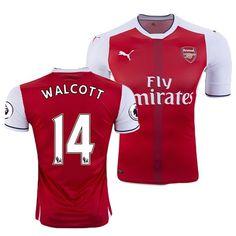 Neue Fussball Trikots Arsenal Rot Weiß (WALCOTT 14) Heim Saison 2016 2017 Billig