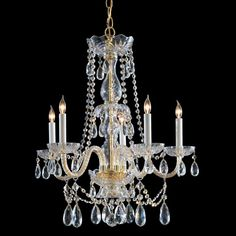 """View the Crystorama Lighting Group 1125-CL-MWP Traditional Crystal 5 Light 26"""" Wide Glass Candle Style Chandelier with Clear Hand Cut Crystal at LightingDirect.com."""