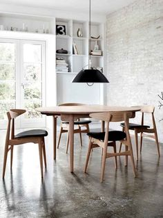 Dining-Mid-century Chairs & Polished Concrete