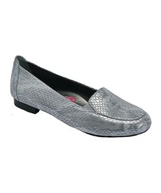 Silver Snake-Embossed Leather Regan Loafer