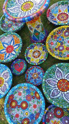 Variety of mosaic bowls and platters Mosaic Birdbath, Mosaic Garden Art, Mosaic Art, Mosaics, Mosaic Mosaic Birdbath, Mosaic Garden Art, Mosaic Tile Art, Mosaic Flower Pots, Mosaic Birds, Mosaic Artwork, Mosaic Crafts, Mosaic Projects, Mosaic Glass