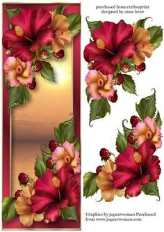 This lovely large dl sized topper features gorgeous hibiscus flowers, against a sunset backdrop. It has a layer of decoupage to add depth.