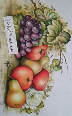Fruit Painting, One Stroke Painting, China Painting, Tole Painting, Fabric Painting, Painting On Wood, Fruits Drawing, Decoupage Vintage, Stained Glass Designs