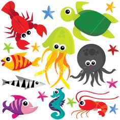 Sea creatures Royalty Free Stock Vector Art Illustration