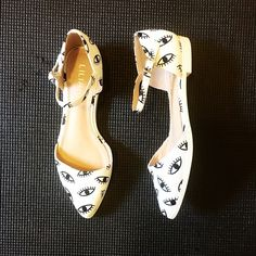 White Evil Eye Flats White faux leather flats with black evil eye print. Never worn. Shoes Flats & Loafers
