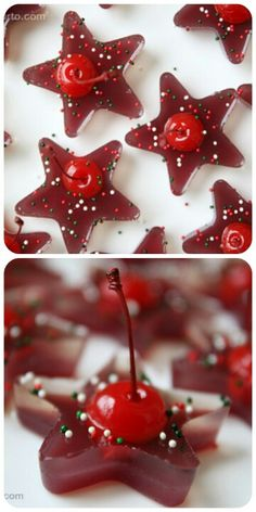 Festive holiday ice-cubes for punch bowls and cups. This is a picture only, not a link. I imagine this is cranberry juice (and maybe a little alcohol?) with sprinkles and a cherry added when the cubes were partly frozen.