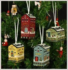 Victoria Sampler Little House Ornaments - Cross Stitch Pattern. Learn expert finishing secrets to create these 4 adorable new Little Christmas Houses! Shows you