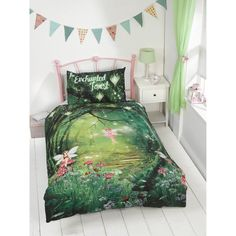 Kids Glow in the Dark Single Duvet Set - Get kids excited for bedtime with glow in the dark bedding - One duvet cover and one pillowcase - Enchanted