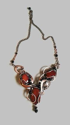 Tangled copper wire wrapped necklace with natural red Jasper and Onyx stones,Wire necklace,Wire wrapped necklace,Woodland necklace,Necklace