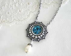 25% OFF, Teal necklace, Blue short necklace, Blue crystal pendant, Blue silver pendant, Silver pendant necklace, Teal jewelry