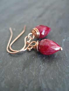 Ruby dangle earrings Rose Gold Bleeding Hearts Holiday by Vitrine