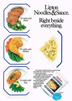 Lipton Noodles & Sauce ad from 1986