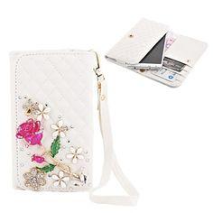 Elonbo Diamond Grain smukke roser Style Læder Wallet Full Body Case for Iphone4/5/5C – DKK kr. 101