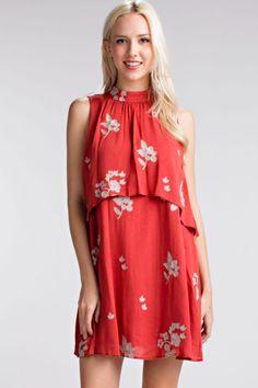 Mandarin Collar Dress Collared Shirt Dress, Collar Dress, Sleeveless Swing Dress, Dress Skirt, Simple Outfits, Boho Outfits, Summer Outfits, Sunday Dress, Burgundy Dress
