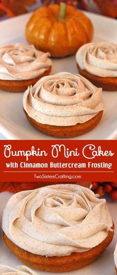 Pumpkin Mini Cakes with Cinnamon Buttercream Frosting