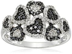 #blackdiamondgem Sterling Silver Multi Hearts Black and White Diamond Ring (3/8 cttw, I-J Color, I2-I3 Clarity), Size 7by Amazon Collection
