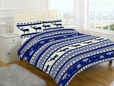Holly Printed Blue Duvet Quilt Cover Bedding Set — Linens Range