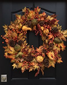 Autumn Harvest Wreath, XL Fall Wreath, Wreath with Gourds, Autumn Foliage Wreath,Artificial Fall Wreath, Fall Wreath Front Door, Fall Colors by twoinspireyou on Etsy https://www.etsy.com/listing/80704635/autumn-harvest-wreath-xl-fall-wreath
