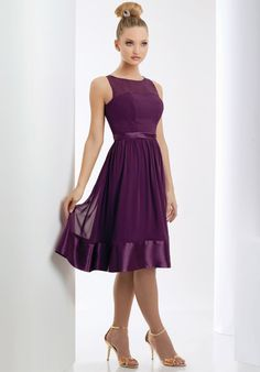 Refined Grape Scoop Neckline Knee Length Simple Design Bridesmaid Dress - in purple instead