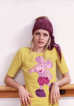 Twiggy in Mr Freedom T shirt 1970s