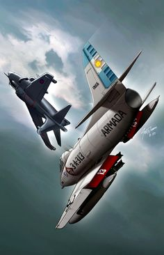 airwar over the Falklands; an Royal Navy Sea Harrier versus an Argentine Air Force Skyhawk; probably fighting over the Port of Stanley as Argentine craft bomb the British Ships in the harbor. Aviation Theme, Aviation Art, Military Jets, Military Aircraft, Fighter Aircraft, Fighter Jets, Hms Ark Royal, Falklands War, Airplane Art