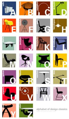 Alphabet of Design Classic Color by Joel + Maria Pirela for Blue Art Studio Abc Poster, Poster Alphabet, Alphabet Art, Alphabet Coloring, Alphabet Soup, Poster Series, Big Design, Modern Design, Nordic Design