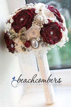 burgundy gold brides brooch bouquet www.cardsbybeachcombers.co.uk
